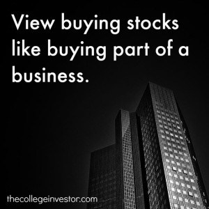 think of buying stocks like buying a business