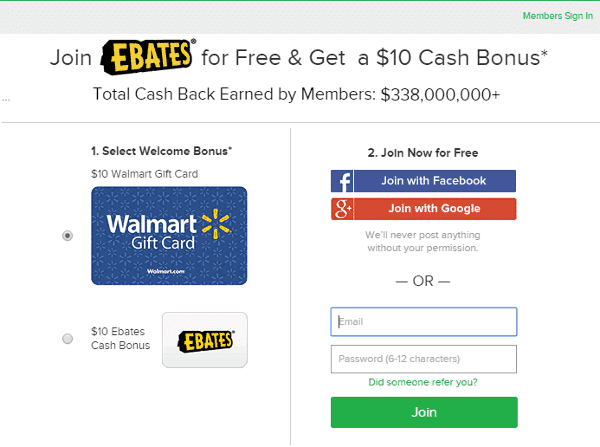 ebates sign on bonus