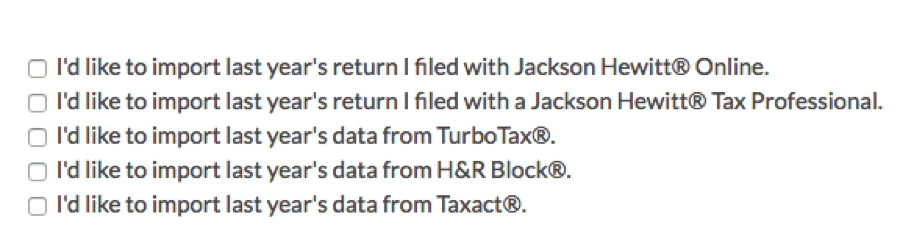 Jackson Hewitt Import Data