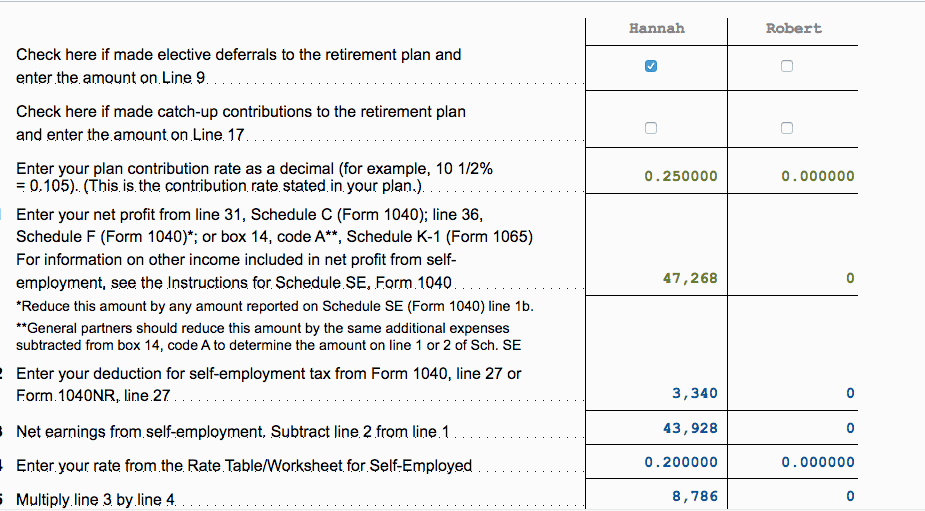 TaxAct Solo 401k Calculator